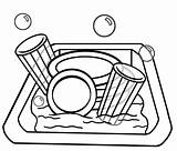 Clipart Clip Chore Library Sink Dishes sketch template