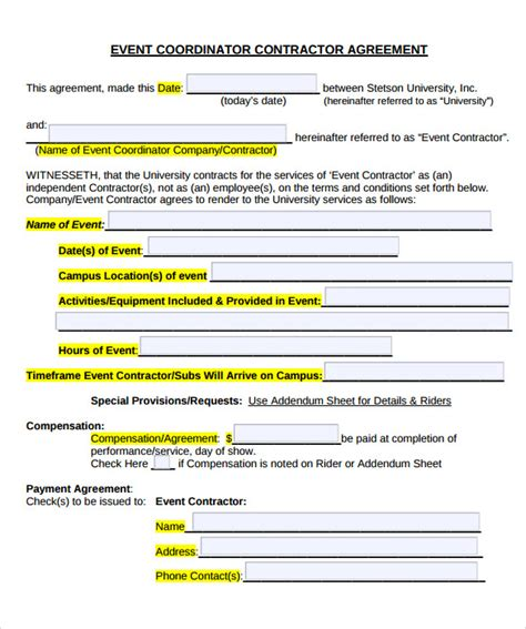 Event Management Agreement Template 19 Event Contract Templates To For Free Sle