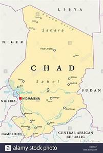 Chad Political Map with capital N'Djamena, national ...