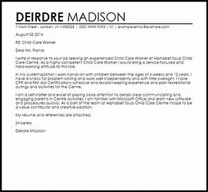 child care worker cover letter sample livecareer With cover letter for working with children