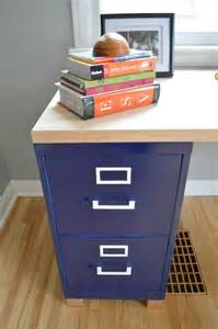 Homemade Desk with File Cabinets