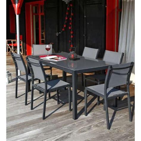 Salon De Jardin Table Et Chaises Ensemble Table De Jardin 180 6 Chaises Aluminium Gris Achat Vente Salon De Jardin Table