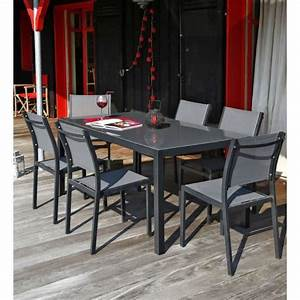 Salon Aluminium De Jardin : ensemble table de jardin 180 6 chaises aluminium gris ~ Edinachiropracticcenter.com Idées de Décoration