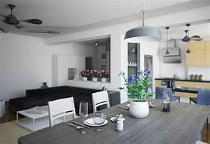 salle a manger grise la teinte passe partout With salle À manger contemporaine avec cuisine verte et grise