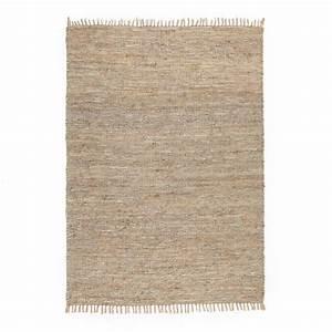 Tapis En Jute Ikea : tapis jute et cuir aidas naturel gris la redoute ~ Teatrodelosmanantiales.com Idées de Décoration