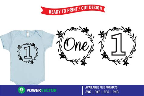 Available in png and vector. First Birthday Wreath Designs SVG Graphic by PowerVECTOR ...