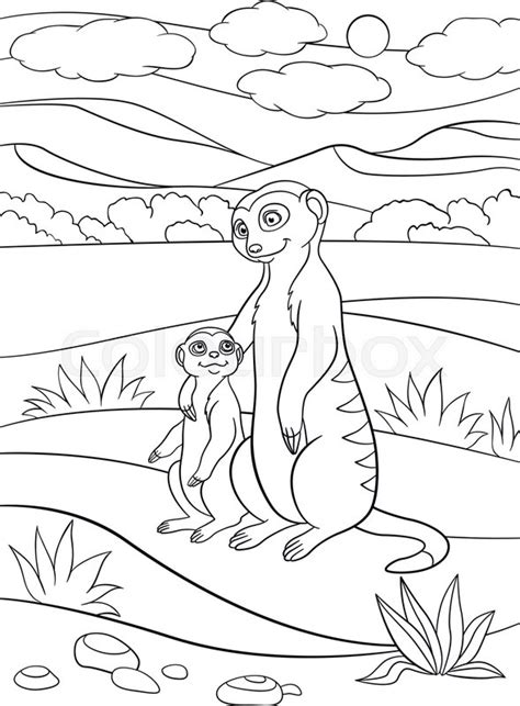 coloring pages mother meerkat  stock vector