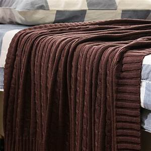 NEW Cotton Cable Knit Blanket Sofa Super Soft Cozy High ...