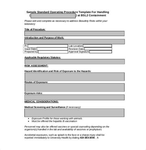 procedure template word 13 standard operating procedure templates pdf doc free premium templates