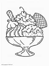 Ice Cream Coloring Printable Pages Sundae Portion Cones Mini sketch template