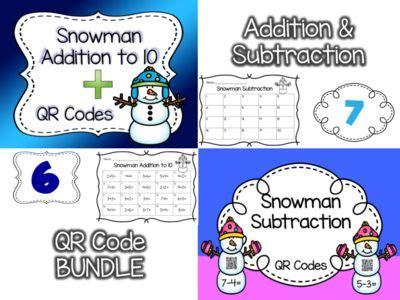 snowman addition subtraction qr codes bundle