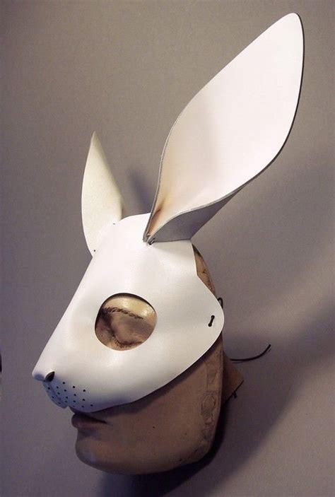 rabbit mask  white leather bunnies art pinterest