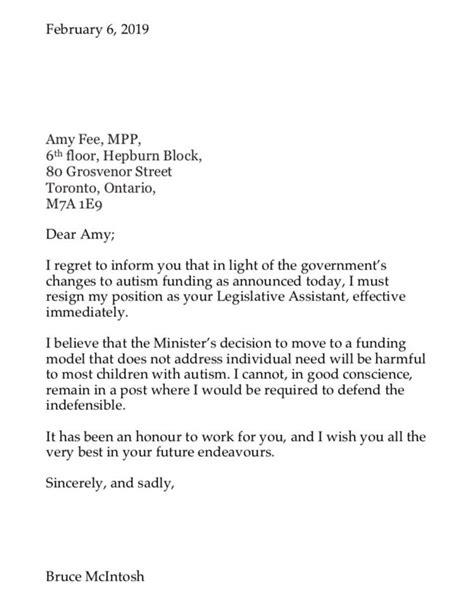 Letter Of Resignation Ontario - Sample Resignation Letter