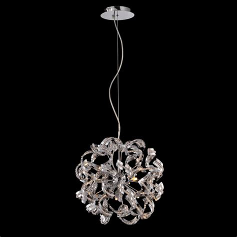 modern chrome orb ribbon pendant chandelier