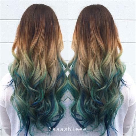 Ombre Teal Blue Rainbow Hair Hair By Aaashleee Hair