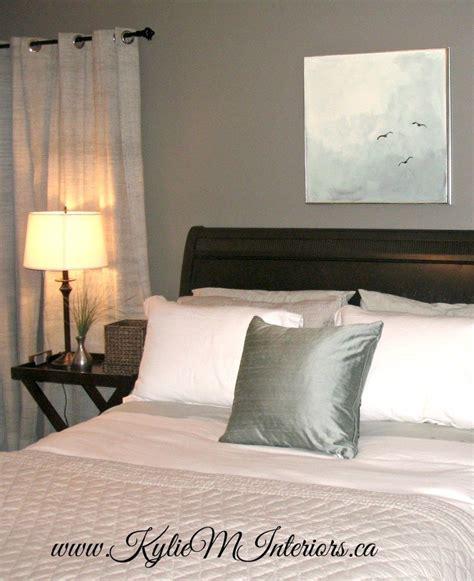 bedroom  chelsea gray walls white linens black