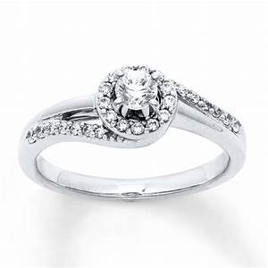 Diamond engagement ring 1 3 ct tw round cut 10k white gold for Jareds jewelry wedding rings