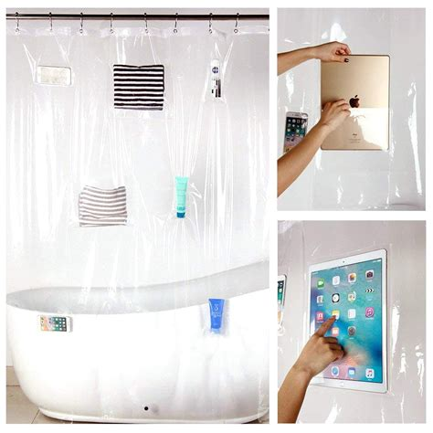 Smartphone Holding Shower Curtain :: Great Things to Buy