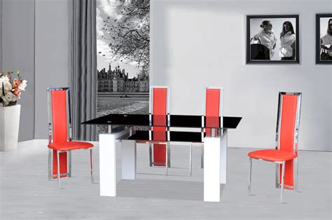 black table red chairs black glass dining table white gloss 4 red chairs