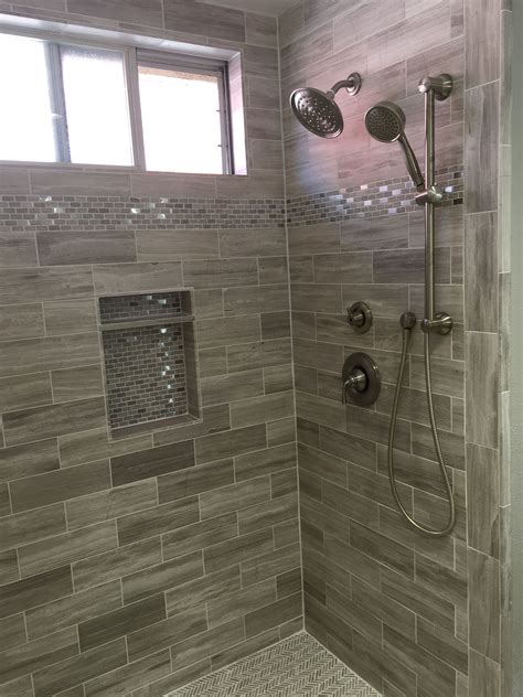 master bath shower  limestone tile  standard brick