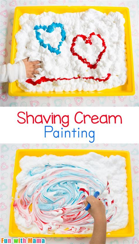 shaving cream painting process art  preschoolers