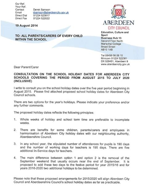 consultation on proposed school holiday dates 2015 2020