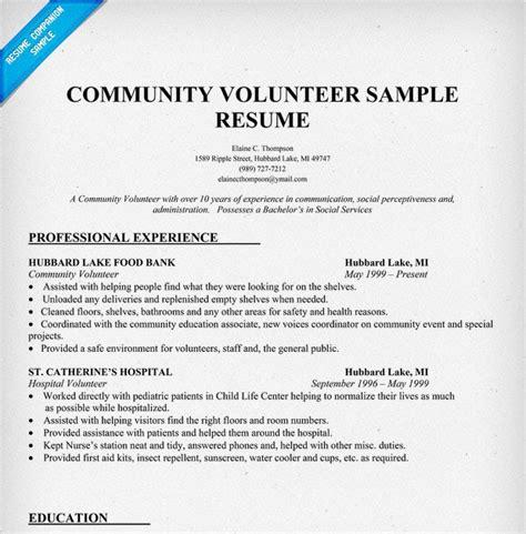 Hospital Volunteer Resume by Hospital Volunteer Resume Sle Sle Resume