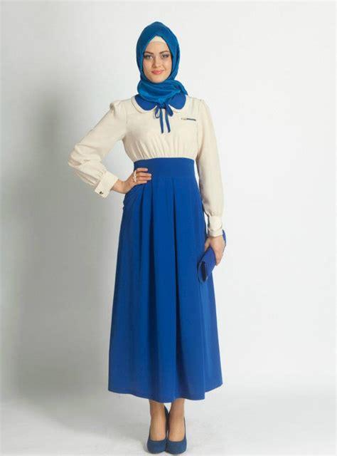 mavi etek goemlek tesettuer elbise modeli  kadin moda