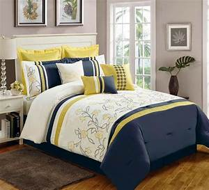 Yellow, And, Navy, Blue, Bedding, U2013, Ease, Bedding, With, Style