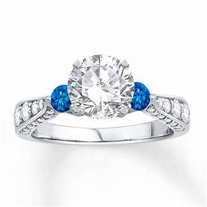 jared diamond engagement ring lab created sapphires 14k With lab created wedding rings