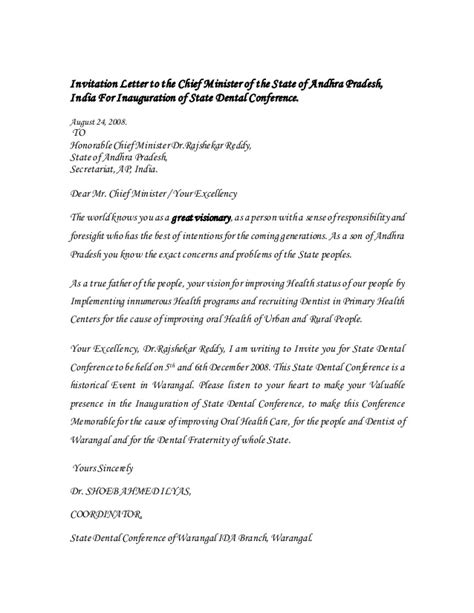invitation letter   chief minister   state
