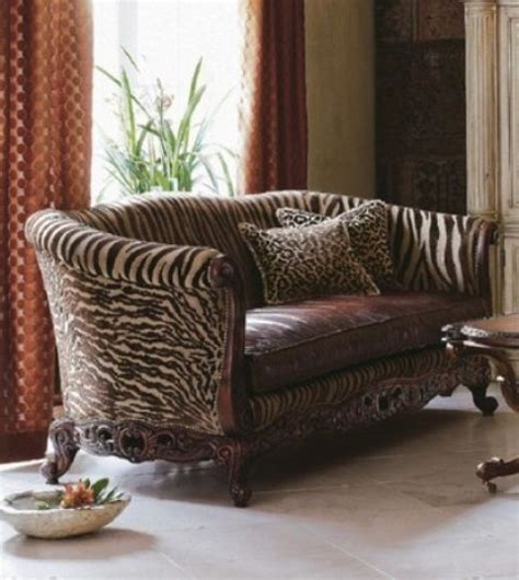 zebra settee quot brown zebra striped sofa quot with ornate wooded