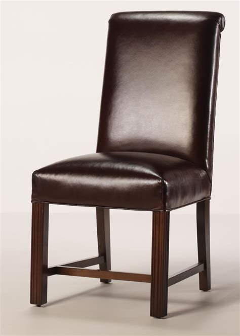 leather rolled  chippendale dining chair  full seat