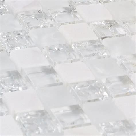 white stone mixed ice crackle clear glass mosaic bathroom