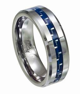 men39s tungsten ring blue carbon fiber inlay polished With blue mens wedding rings