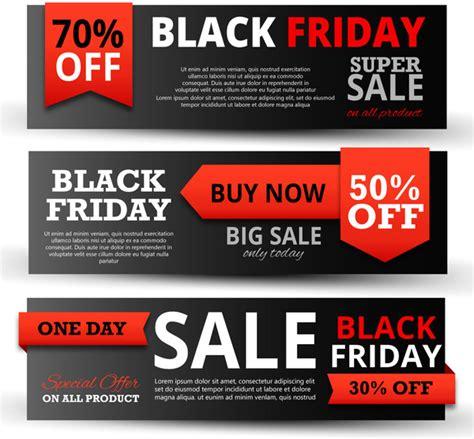 black friday promotion banners on black horizontal design free vector in adobe illustrator ai
