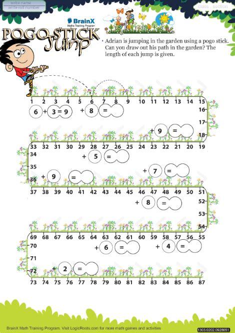 pogo stick jump math worksheet  grade