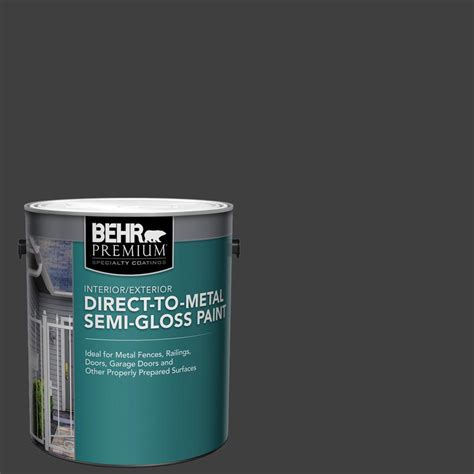 behr premium 1 gal black gloss direct to metal interior exterior paint 322001 the home depot