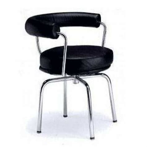 lc7 corbusier swivel dining chair in genuine black italian