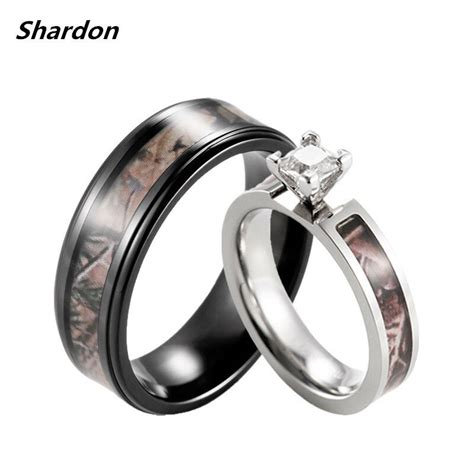 his hers brown camo engagement wedding black titanium camo ring ebay