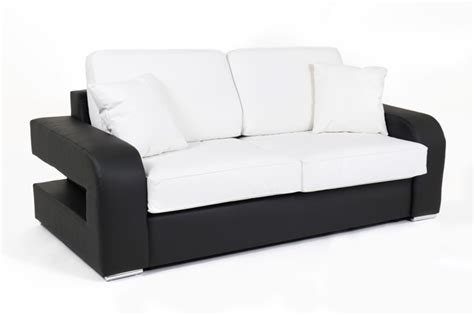 h et h canapé canape convertible couchage 140 cm alban wilma noir