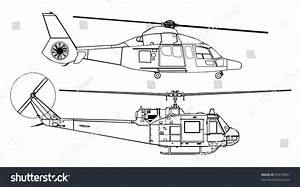 Helicopter Line Drawing Diagram Stock Vector Illustration