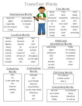 transition word list notebooks esl and to