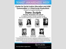 Trans Awareness Week – The Center for Social Justice