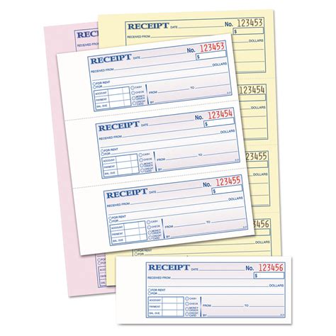 money rent receipt books by tops top46808