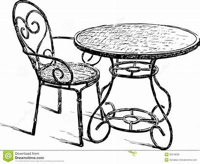 Table Chair Drawing Chairs Cafe Vector Summer