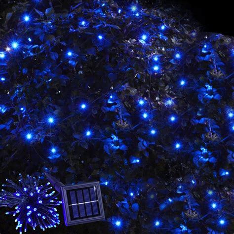100 blue leds solar powered string light flash static
