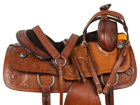 Used 16 Leather Tooled Western Horse Roping Ranch Trail
