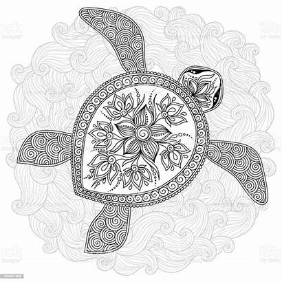 Turtle Coloring Pattern Vector Decorative Henna Illustration