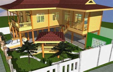 desain  model rumah panggung kayu minimalis sunda modern